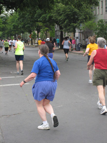 The Wife In Blue Streaking To The finish