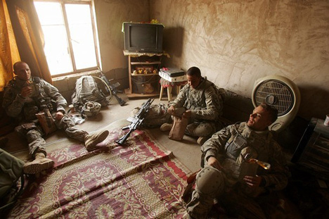 101st Airborne Soldiers Take A Break Inside A House They Just Searched In Awsat, Iraq