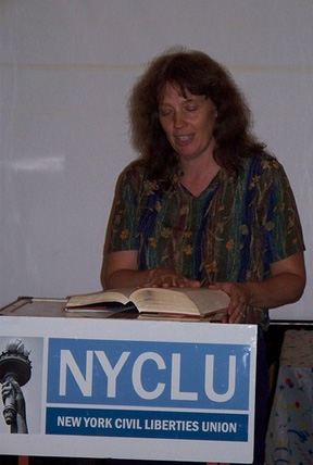 Kathy Manley Reading A Banned Book