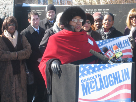 Carolyn McLaughlin Announcing Her Candidacy At The ML King Monument Last February