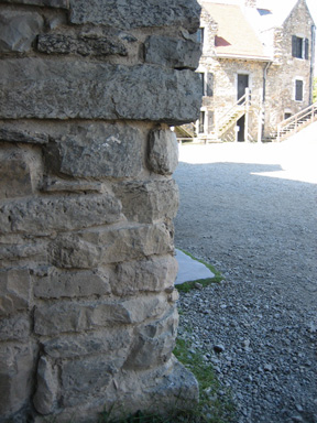 At The Entrance, Bottom Rounded  Stones Are Original, Square Stones  At Top Are New