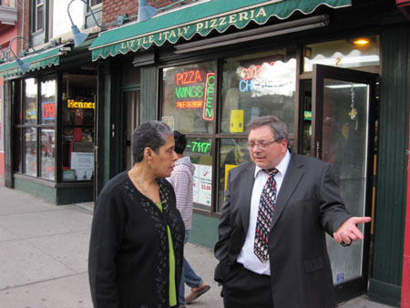 Common Council Members Barbara Smith And Dominick Calsolaro In Front Of Little Italy