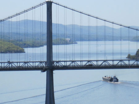 Tanker Under The Mid Hudson Bridge