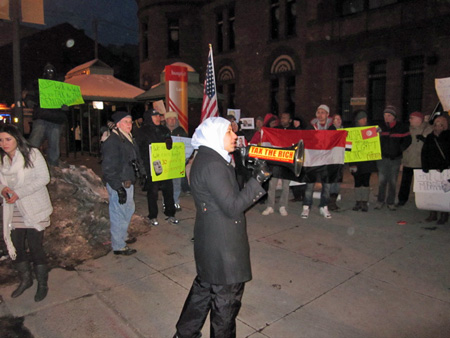 Marwa Elbially (with Doug Bullock's Bullhorn) Leads The Albany Rally For Egyptian Democracy, Januar 31, 2011