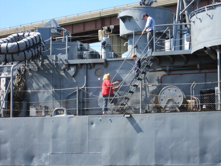 Tourists Inspect The USS Slater