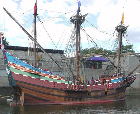 Replica Of The Halfmoon Docked precariously At Albany