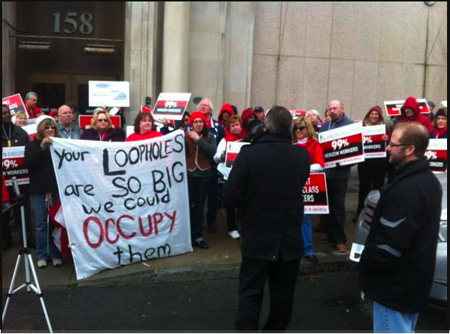 Citizen Action Leads A Protest Against Tax-Dodging Verizon Corporation, February In Albany