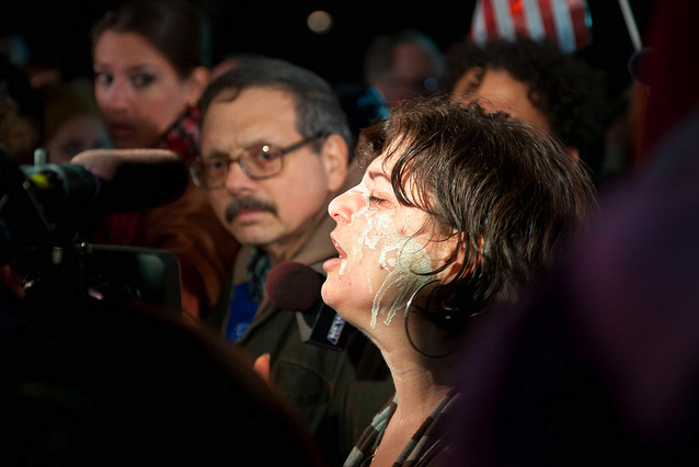 Dominick Calsolaro With Shanna Goldman After She Was Pepper Sprayed During The Attack Against Occupy Albany, Dec 22