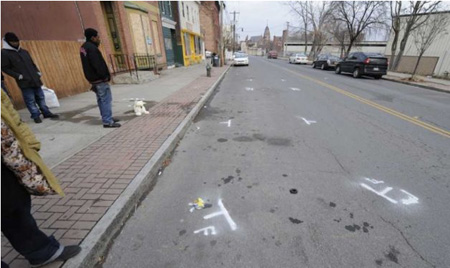 South Pearl Street The Morning After, Pavement Markings Show Where Nahcream Was Killed