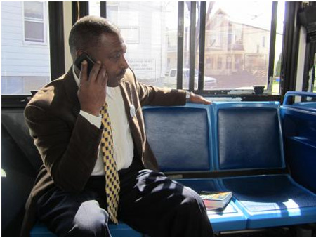 Willie White On The 100 Bus, Photo From The NPR Article