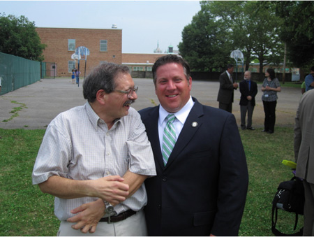 City Of Albany Common Council Member Dominick Calsolaro At Left Greets Albany County Executive Dan McCoy