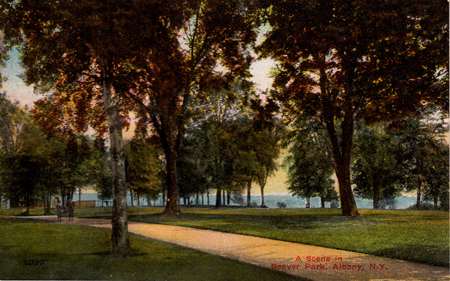 "First Postcard, ""A Scene In Beaver Park, Albany, N.Y."" (Click on photo for detail)"