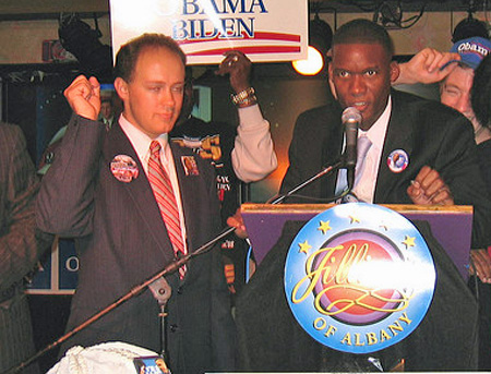 Anton Konev and Corey Ellis Celebrating President Obama's Election At Jillian's In 2008