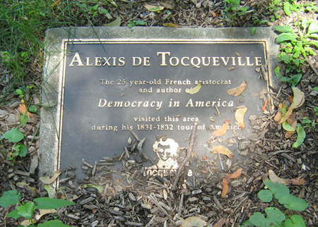 Plaque In Academy Park Commemorating Alexis DeTocqueville's Visit To Albany