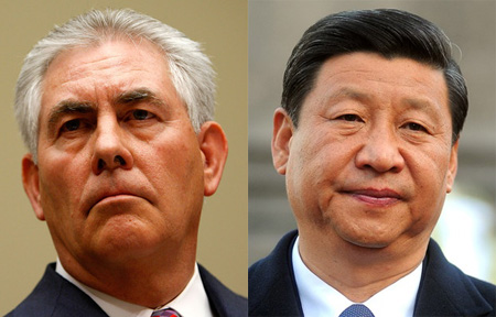 CEO Of ExxonMobil Rex Tillerson, Party Chairman And President Of China Xi Jiping