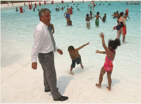 Jerry Jennings At The Season Opening Of Lincoln Park Pool In 2003, Shortly After South End Neighbors Stopped Him From Closing It