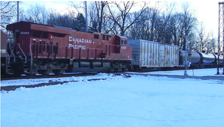 Canadian-Pacific Freight Train Hauling Empty 96 Cars North From Albany Heading For Canada In January