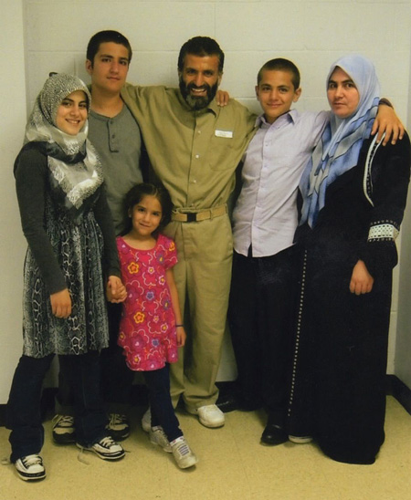 Yassin Aref With His Family, Children Alaa, Saheh, Ayah, Azzam And Wife Zuhur During Their First Contact Visit In Marion Illinois, 2011