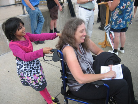 Halima And Kathy Manley Play With The Wife's Abandoned Wheelchair