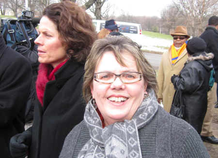 Cathy Fahey At The ML King Statue In January (With Pat Fahy)