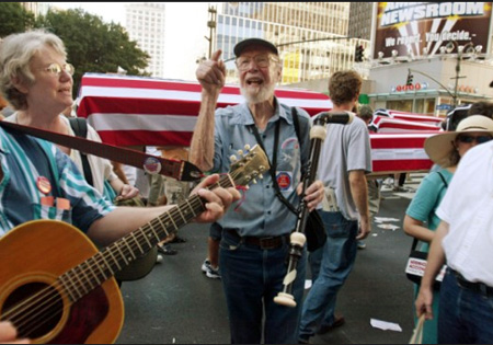 Pete Seeger Outside The Re-pub National Convention, NYC 2004