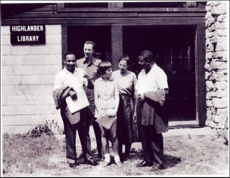 Martin Luther King, Pete Seeger, Charis Horton, Rosa Parks, and Ralph Abernathy At Highlander Folk School, 1957