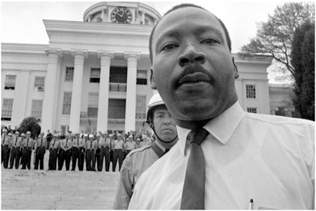 Martin Luther King And State Police In Montgomery Alabama, 1965