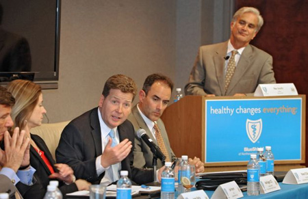 Albany-Colonie Chamber CEO Mark Eagan (At Mic) Attacks The Affordable Care Act, Hearst Times Union Manager Rex Smith Listens Approvingly At Right, June 2012