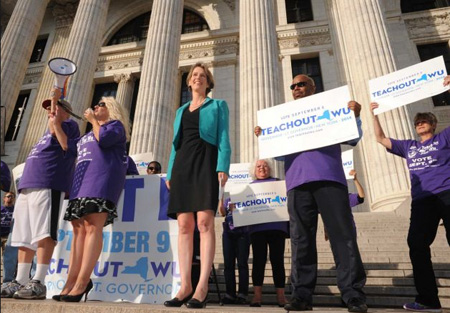 Zephyr Teachout Campaigning In Front Of The NY State Education Building, Albany