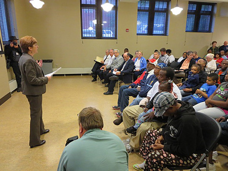Albany Mayor Kathy Sheehan Attempts To Start The Budget Presentation Meeting At Howe Library