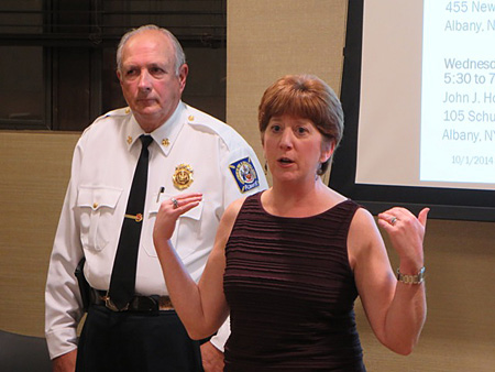 Mayor Sheehan Tries To Continue The Presentation, With Fire Chief Warren Abriel