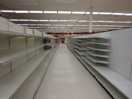 Empty White Shelves At The Delaware Avenue Price Chopper Ready To Be Removed