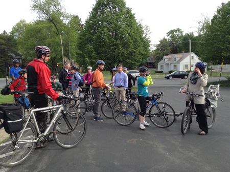 Bicycle Drivers Ready To Roll At Bethany Reformed Church (State Assembly Member Pat Fahy At Right)