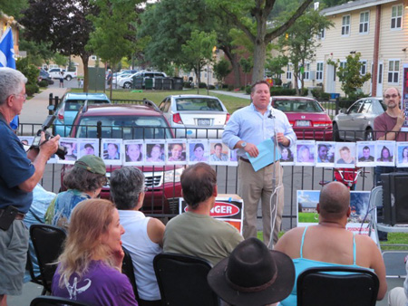 Dan McCoy At The Vigil for The Lac Magnetic Bomb Train Victims On South Pearl Street Last Year