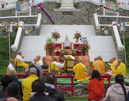 The Monks Chant Prayers, Jun Sun At Far Left