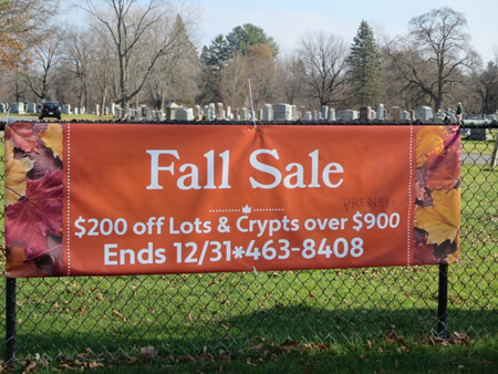 Sign On The Gate At Graceland Cemetery On Delaware Avenue