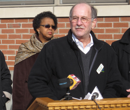 Mike Jacobson As Habitat Director On Alexander Street In Albany (With Common Council President Carolyn McLaughlin) Dec. 2012