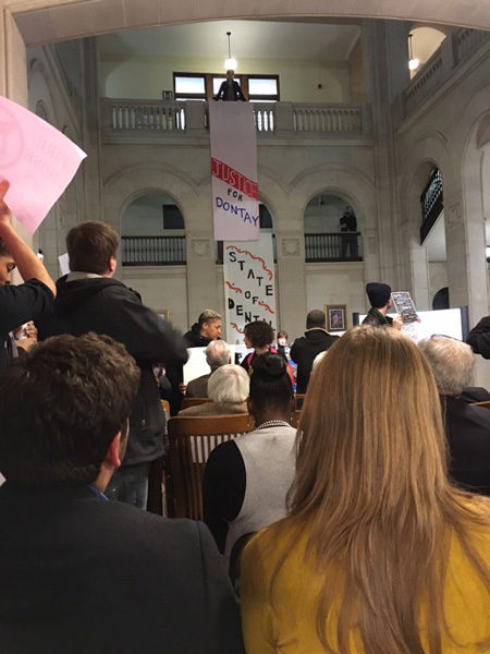 Shortly After The Banners Were Dropped Behind Mayor Sheehan [Credit: The Wife from her seat]