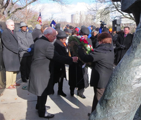 Laying The Wreath Before The Statue Of Dr. King