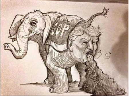 It's The Elephant's Crap Spewing From His Mouth