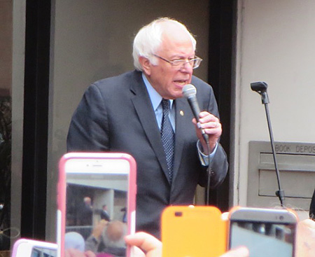 Bernie Sanders Outside The Albany Public Library Addressing The Thousands Of Supporters Who Couldn't Get Inside The Washington Avenue Armory This Past April