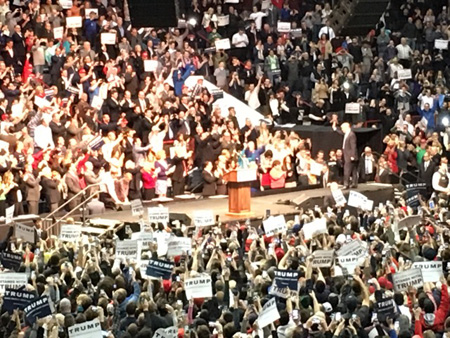 Donald Trump Walks On Stage At The So-Called Times Union Center In Albany
