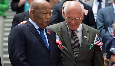 Congressional Representatives John Lewis Of Georgia And Paul Tonko Of Albany At A Press Conference On June 22