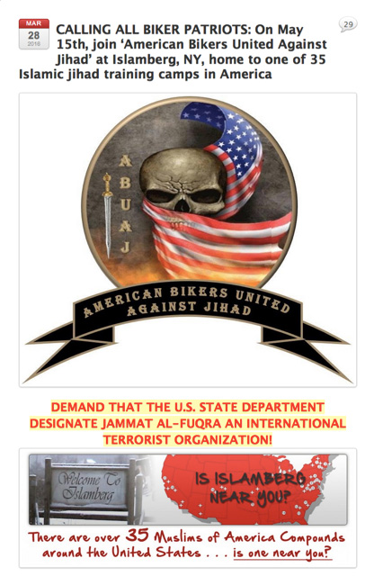 Here is a screenshot of the announcement for the American Bikers Against Jihad attack on Islamberg for May 15 from the Bare Naked Islam site.