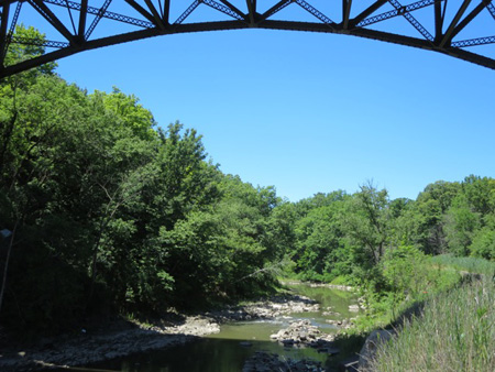 The Normanskill Under The I-90 Bridge Seen From The Helderberg-Hudson Rail Trail In The City Of Albany