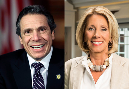 Andrew Cuomo And Betsy DeVos: Hardline School Privatization Ideologues