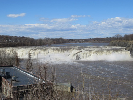 Cohoes Falls, April 2017, Hydro Power Plant At Left