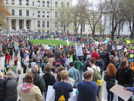 Crowds Gather At The Capital Hours Before The Earth Day March for Science, Albany NY