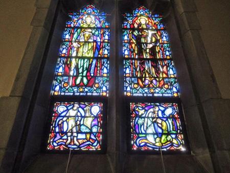 Bottom Two Panels Of The Windows, Saints In The Middle, Soldiers At The Bottom