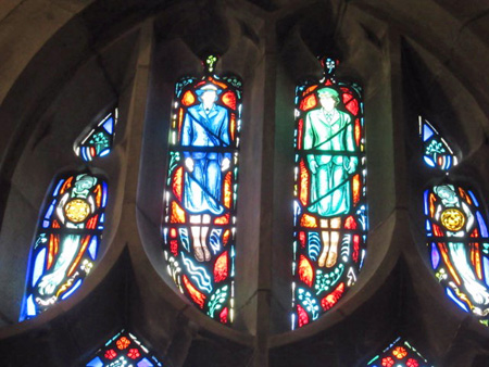 Female Soldiers Honored At The Top Of A Stained Glass Window